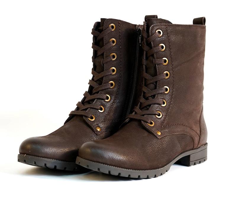 Aspele Women's Brown Nubuck Leather Combat Biker Ankle image 0
