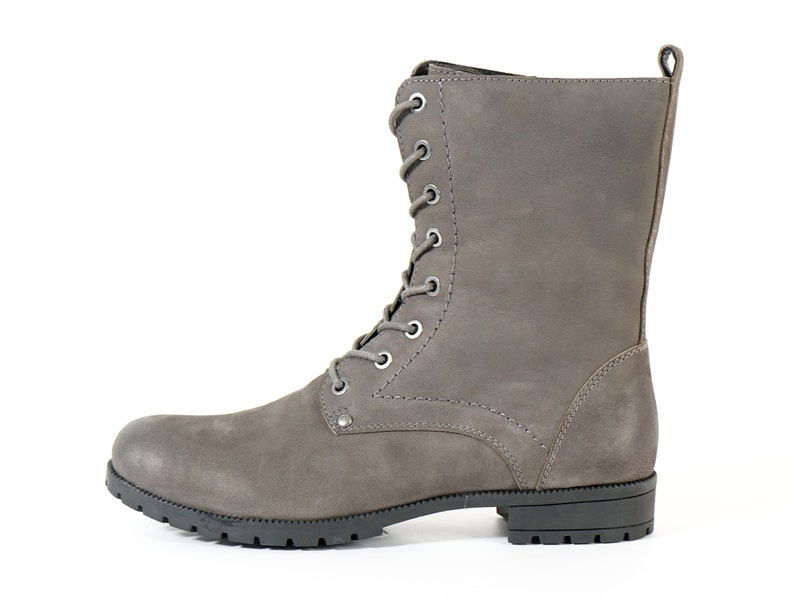 d92737f8096d Aspele Women s Grey Nubuck Leather Combat Biker Ankle Lace
