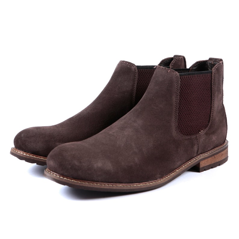 Aspele Mens Brown Classic  Suede Leather Chelsea Ankle Boots Leather Sole-Leather Iinings
