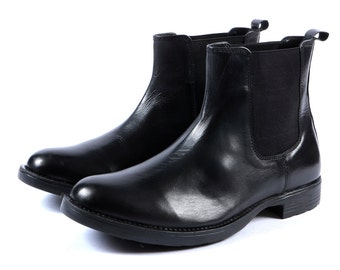 Aspele Mens Black Leather Chelsea Ankle Boots