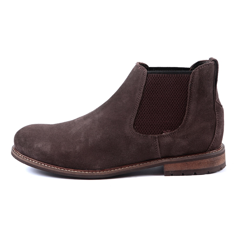 Aspele Mens Brown Classic Suede Leather Chelsea Ankle Boots- Leather  Sole-Leather Iinings