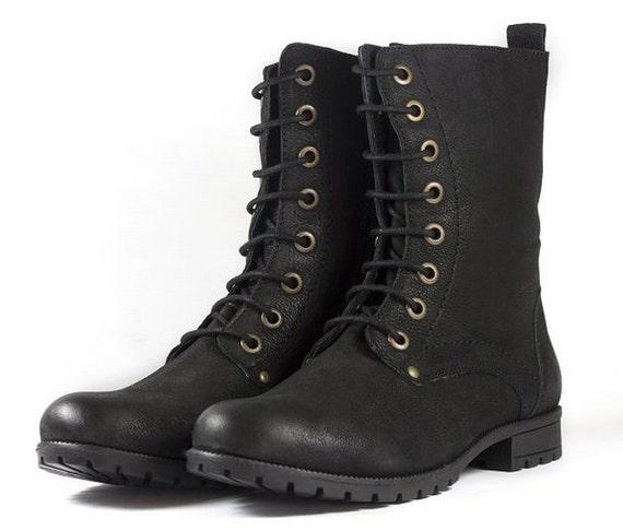 Black Combat Biker Ankle Boots-Lace Up