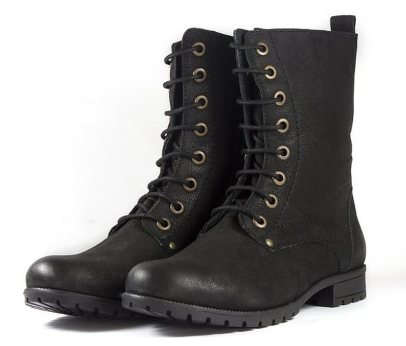 7f03a2ed11411 Women s Black Combat Biker Ankle Boots-Lace Up and Zip Up