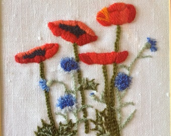 Vintage Red Poppy and Purple Aster Flowers Embroidered Wall Art Nature Floral