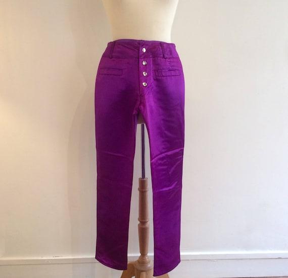 90/'s shiny disco pants  mid waist pants  cropped pants  purple pants  shiny pants  skinny pants  90/'s clothing  rare pants