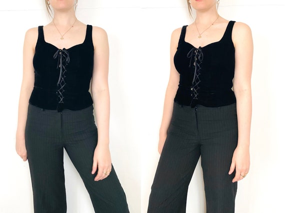 90s Cacharel corset / black velvet corset/ corset… - image 5