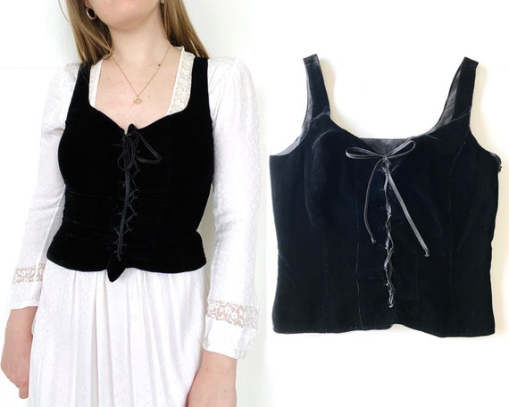 90s Cacharel corset / black velvet corset/ corset… - image 1