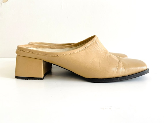 90s mules / nude mules / 90s shoes / heeled mules… - image 1