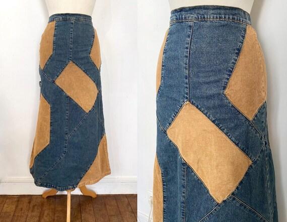 90s patchwork skirt / denim skirt / corduroy skirt