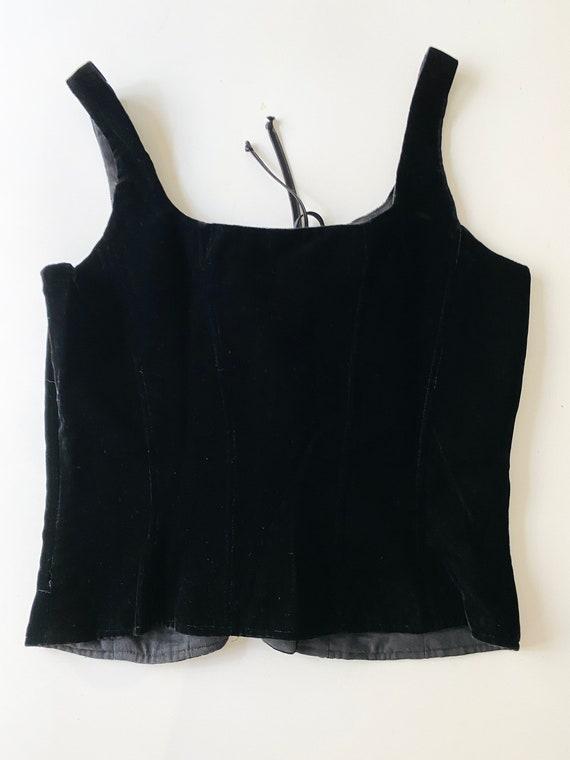 90s Cacharel corset / black velvet corset/ corset… - image 7