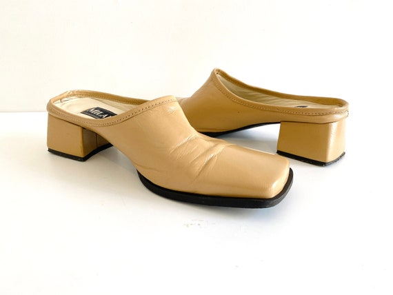 90s mules / nude mules / 90s shoes / heeled mules… - image 3