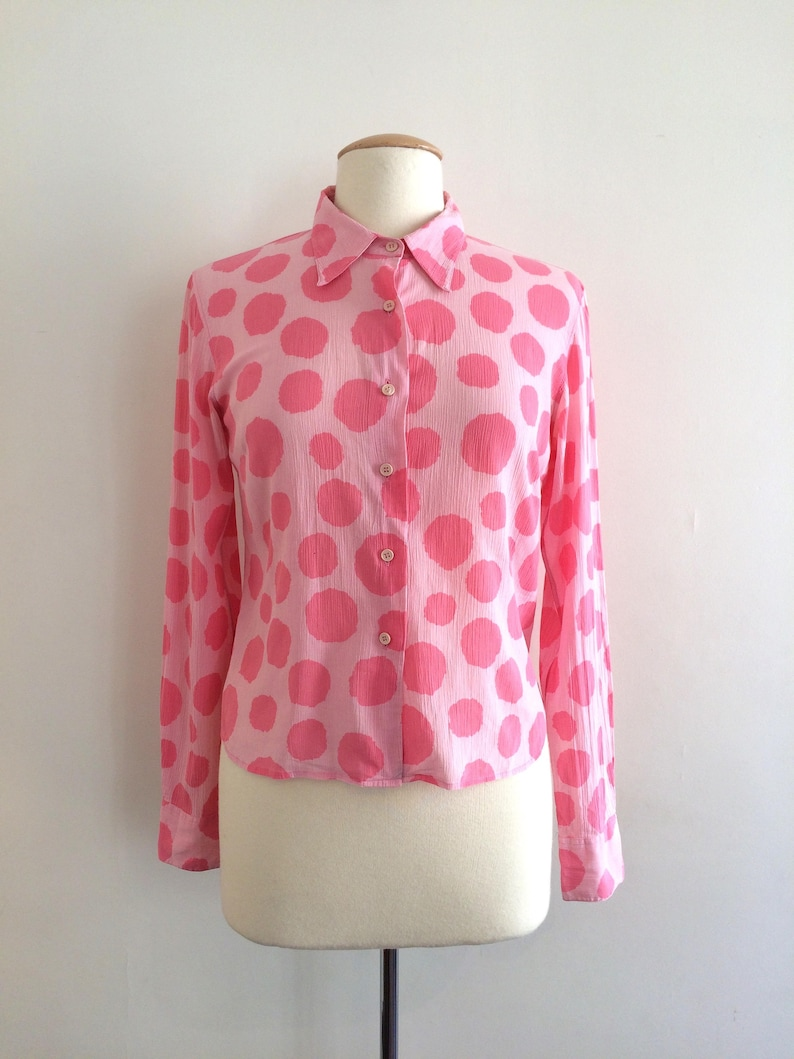 90/'s Agnes B blouse  pink blouse  cotton shirt  button up blouse  spotted shirt  polka dot  modern design french shirt  90s clothing