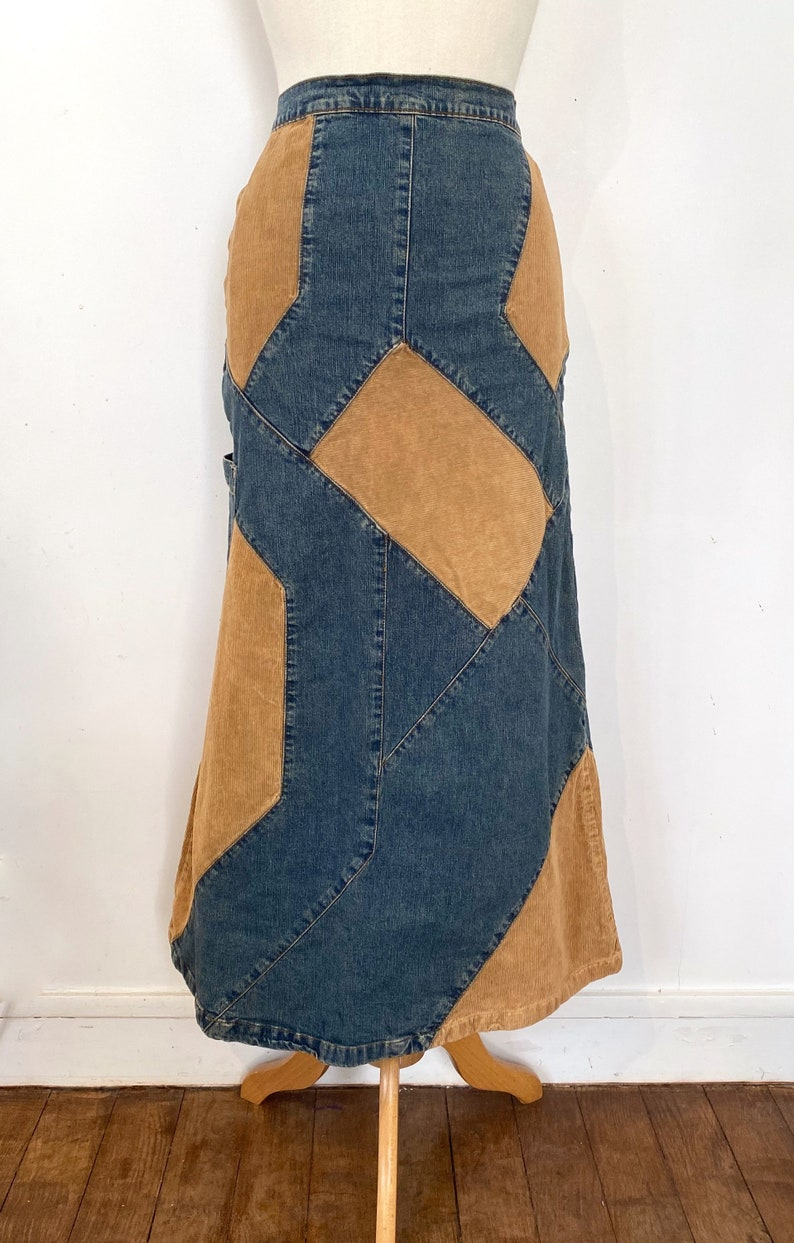 90s Denim and Corduroy Long Patchwork Skirt  S