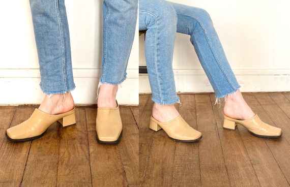 90s mules / nude mules / 90s shoes / heeled mules… - image 6