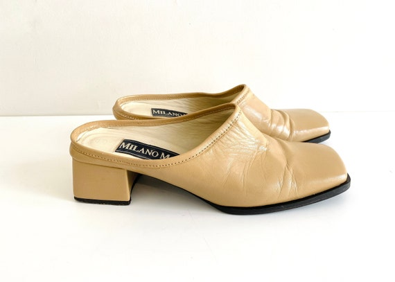 90s mules / nude mules / 90s shoes / heeled mules… - image 2