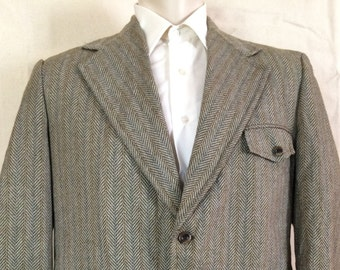 1970s Patterned Blazer - Mens Chevron Sport Coat from Montgomery Ward size Large 45R