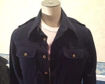 1970s Leisure Suit Jacket - Mens Navy Blue Disco Jacket Size XL