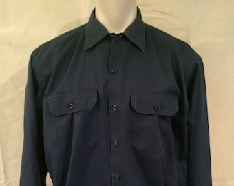 Vintage Dickies Work Shirt - Large - Blue - Long Sleeve - 1980s - 1990s - Casual - Hipster