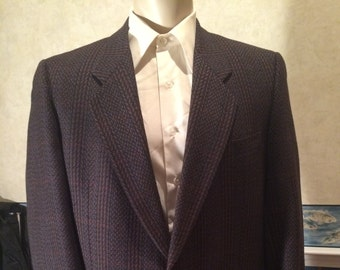 1980s Patterned Wool Blazer - Mens Totally 80s Striped Sport Coat from Fenwick Clothes size Large 46R