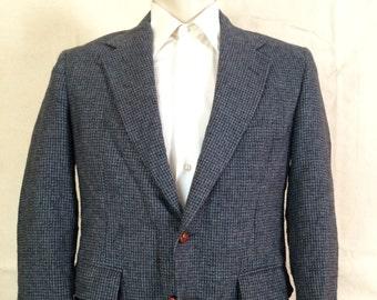 1980s Tweed Blazer - Mens blue Tweed Sport Coat from Cambridge Classics 41R Medium