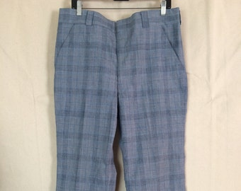 1970s Patterned Pants - Plaid Pants - Blue Pants - size Large - Hipster - Golf - Disco
