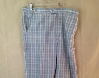1970s Disco Pants - 34x28 39x28 Adjustible - Plaid - Blue White Pink - Hamilton House