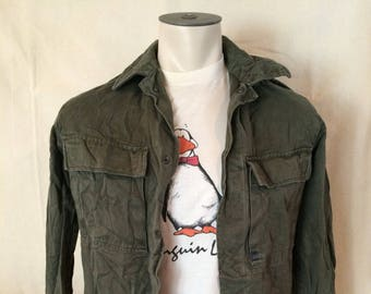 Vintage Dutch Army Shirt - Military - Hipster - Rebel - Netherlands - Autumn - Size Medium