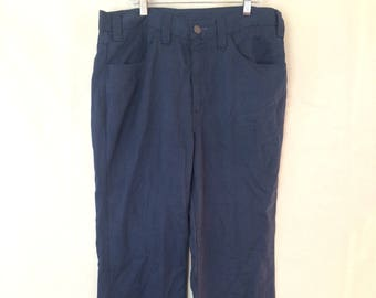 1970s Disco Pants - 34x29 - Levi's Gentleman Jeans - Navy Blue - Slacks - Bellbottoms