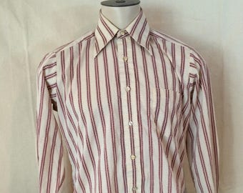 1970s Striped Dress Shirt - Long Sleeve - Maroon and Ivory - Pointy Collar - Patterned - Sears The Mens Store - Perma Prest - Size Medium