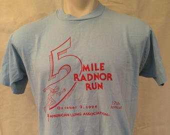 1990s Tshirt - Large - Graphic - Event - Ironic - Hipster - 5 Mile Radnor Run 1994 - Blue - Red - Fruit of the Loom Best