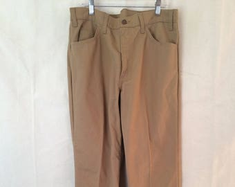 1970s Sta Prest Pants - 34x27 - Levi's - Tan - Harvest Gold - Bell Bottoms - Disco Fashion - Groovy!
