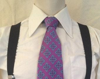 1970s Wide Disco Tie - Lavender - Purple - Geometric - Hipster - Wedding - Prom