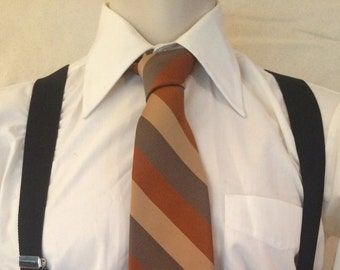 1970s Disco Tie - Earth Tone Stripes - Wide Polyester - from Wembley