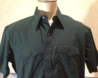 Green Work Shirt - 1980s - Mens - Extra Large - Forest Green - Riverside - Park Ranger - Eco Chic - Casual - Hipster - Short Sleeve -