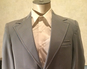 1970s Patterned Blazer - Mens Blue and Ivory Wide Lapel Disco Jacket size 40R Medium