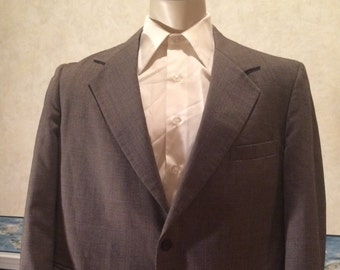 1970s Gray Blazer - Mens heathered sport coat from John Weitz by Palm Beach size Large 46S