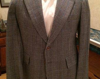 Plaid Disco Blazer - 1970s - Mens - Medium 42R - Blue Gray - Cricketeer - Preppy - Classic Wide Lapel Sport Coat