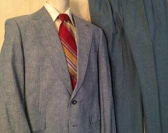 1980s Combo Suit - Light Blue Odd Jacket Slacks - Gerald Austin - Colours by Alexander Julian - Preppy - Retro - Professor - Blue