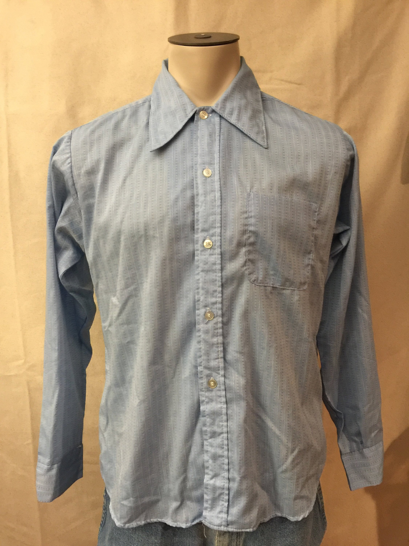 1960s Dress Shirt Blue White Mod Tapered N Etsy