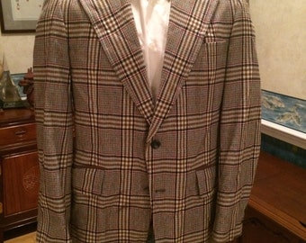 Classic Plaid Blazer - 1970s - Mens - Medium 42R - Red Gray White - J C Penny - Preppy - Retro - Great Casual Wear in Fall Colors