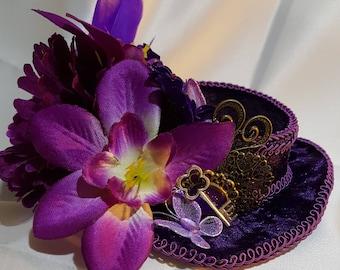 Victorian short steampunk purple velvet  Mini Top Hat