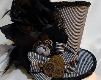 Mad Hatter pinstripe  steampunk medium Mini Top Hat
