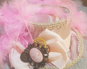 Steampunk oval Mini Top Hat, mad hatter, Alice in wonderland,  fascinator, pink and cream, Victorian, cameo