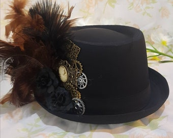 Full sized steampunk trilby fedora  hat. One of a kind. Keys. Cogs. Locks. Clocks