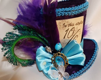 Mad hatter mini top hat purple turquoise, Alice in wonderland, tea party