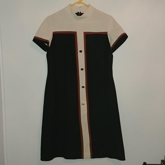 Vintage 1970s Polyester Shirt Dress R&K Knits Blac