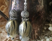 Over the Moon: Brass Tulip Filigree Rhinestone Mother of Pearl Rondelle Vintage Assemblage Earrings