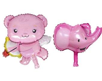 """Set n. 2 Balloons:""""Pink bear + elephant"""""""
