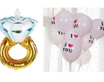 """Diamond ring balloon + 2 white balloon """"I Love you"""""""