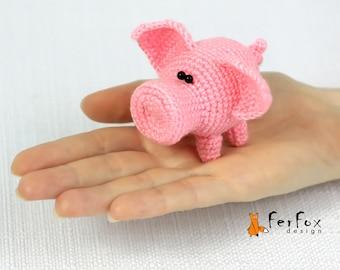 Miniature pig stuffed animal, Tiny pig plushie, Stuffed piggy miniature animal figurine
